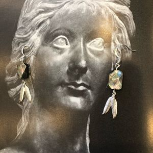 Casey Keith Design Jewelry - Feathered Black Mother of pearl earrings